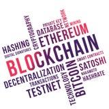 Blockchain-Wort-Wolkencollage, Geschäftskonzept backgroundn lizenzfreie abbildung