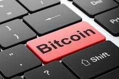Blockchainconcept: Bitcoin op de achtergrond van het computertoetsenbord Royalty-vrije Stock Afbeeldingen