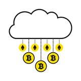 Blockchainconcept cryptocurrency Wolk op witte achtergrond Gouden regen virtuele muntstukken bitcoin, ethereum die neer vallen stock illustratie