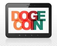 Blockchainconcept: De Computer van tabletpc met Dogecoin op vertoning Stock Foto's