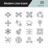Blockchainpictogrammen Moderne reeks 35 van het lijnontwerp Voor presentatie, g Stock Afbeeldingen