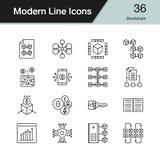 Blockchainpictogrammen Moderne reeks 36 van het lijnontwerp Voor presentatie, g Stock Foto