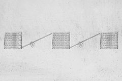 Blockchains med kuber av binära data och låset och kedjan förbinder royaltyfri illustrationer