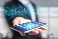Blockchaintitel met een cahin van 3d die gegevensaantal wordt gemaakt - geef terug Stock Foto's