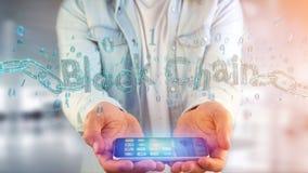Blockchaintitel met een cahin van 3d die gegevensaantal wordt gemaakt - geef terug Stock Foto
