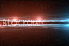 Blockchainwoord op abstracte golvende cyberspace achtergrond royalty-vrije stock foto's