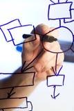 blockdiagrammet tecknar den genomskinliga glass handen royaltyfri fotografi