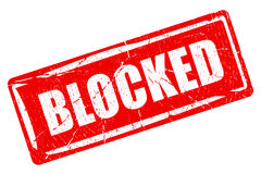 Blocked content rubber stamp Stock Photos