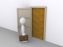 Blocked doorway and a businessman Royalty Free Stock Image