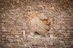 Blocked entrance to a Pyramid in Cairo Egypt. At day Royalty Free Stock Photography