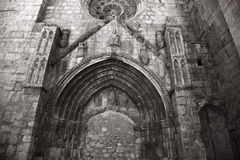 Blocked gothic entrance. To a church in Roa de Duero, Burgos, Spain Royalty Free Stock Photography