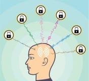 Blocked Locked Secured Brainwaves Human subject Vector Illustration. Eps file vector illustration