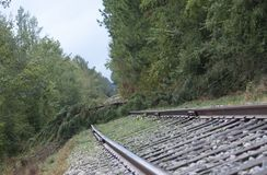 Blocked railroad tracks after Hurricane Florence. Hit near Fayetteville North Carolina stock photo