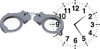 Blocked time. Clock with locked handcuffs Blocked time Royalty Free Stock Photo