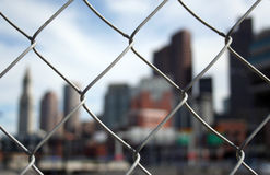Blocked View. Boston Construction Fence Royalty Free Stock Photos