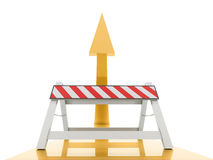 Blocked yellow arrow concept rendered Royalty Free Stock Image