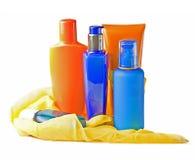 blockera för lotionsommar för ca kräm- färgpulver för sun Royaltyfria Foton