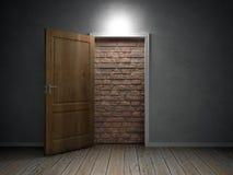 blockera tegelstendörröppningsväggen arkivfoto
