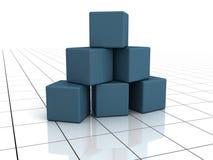 blockerar blå byggnadsyttersidawhite Arkivbilder
