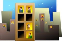 blockerar kontoret royaltyfri illustrationer