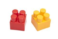 blockerar tegelstenkantfokusen som isoleras nära plastic selektiv toywhite Royaltyfri Bild