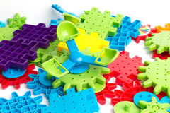 blockerar tegelstenkantfokusen som isoleras nära plastic selektiv toywhite Royaltyfri Foto
