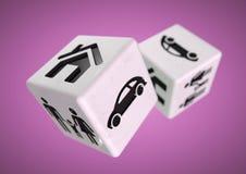 blockering för bunt för dobbleri för böjelsechipbegrepp Spela med din familj, bil Royaltyfri Illustrationer