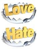 blockering för hatförälskelsemotsatser Arkivfoto
