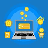 Blockhain scheme, mining crypto currency, server room, powered computers, data processing, money transaction in internet vector. Cryptocurrency and blockchain Royalty Free Stock Photo