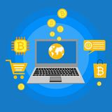 Blockhain scheme, mining crypto currency, server room, powered computers, data processing, money transaction in internet vector. Cryptocurrency and blockchain Stock Photos