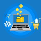Blockhain scheme, mining crypto currency, server room, powered computers, data processing, money transaction in internet vector. Cryptocurrency and blockchain Royalty Free Stock Photography
