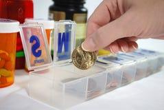 Blockhaus avec les pièces de monnaie américaines Photos libres de droits