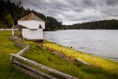 Blockhaus an der Küste, englisches Lager, Garrison Bay, San Juan Lizenzfreie Stockfotografie