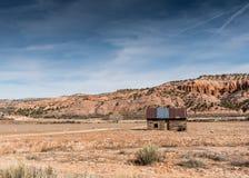 Blockhaus in der Wüste von Utah Stockbilder