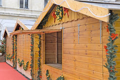 Blockhaus des Weihnachtsmarktes Lizenzfreies Stockbild