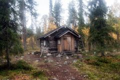 Blockhaus herein in tiefem Taiga-Wald Stockfotos