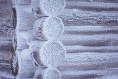 Blockhaus im Frost Stockfoto