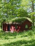 Blockhaus mit Grasdach Stockbilder