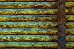 Blockhaus-oder Scheunen-unbemalter ausgeschiffter Wand-strukturierter horizontaler Hintergrund mit Kopien-Raum Stockbilder