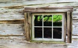 Blockhaus-Wand und Fenster Lizenzfreies Stockbild