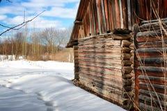 Blockhauswand-Landschaftswinter Lizenzfreies Stockbild