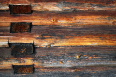 Blockhouse logs texture. Yellow blockhouse wall logs texture Stock Images