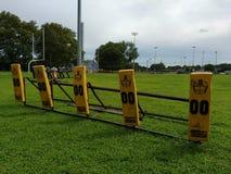 Blockieren des Schlittens, amerikanischer Fußball-Ausbildungsanlageen Stockfotos