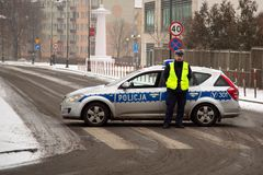 Blockieren durch Polizei Stockfotos