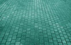 Blockieren Sie gepflasterte Bahn in der Meergrünfarbe, für Hintergrund Stockfotos