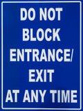 Blockieren Sie nicht Eingangs-Zeichen Lizenzfreie Stockbilder