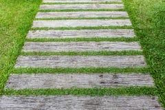 Blockieren Sie Wegweg im Garten mit grünem Gras Lizenzfreies Stockfoto