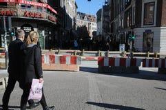 BLOCKIERTE PEDESTRAIN-STRASSE IN KOPENHAGEN Lizenzfreie Stockfotografie