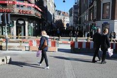 BLOCKIERTE PEDESTRAIN-STRASSE IN KOPENHAGEN Lizenzfreie Stockbilder