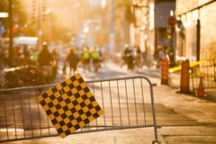 Blockierte Straße und Zaun während des Festivals aufgehoben für Fußgänger Stockbild
